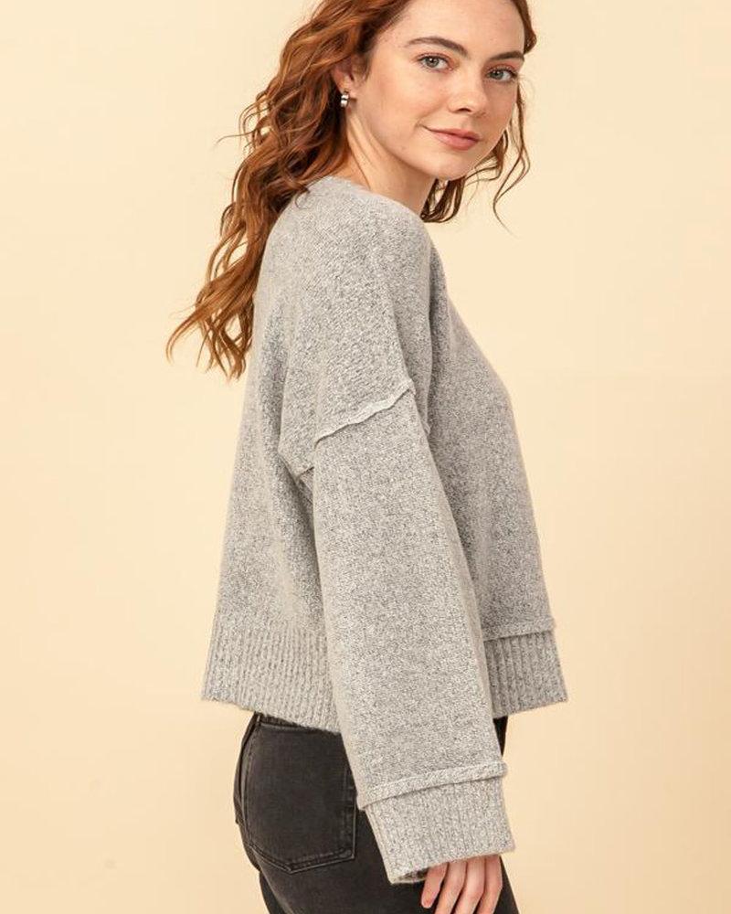 Double Zero Double Zero Round Neck Wide Sleeve Pullover Sweater