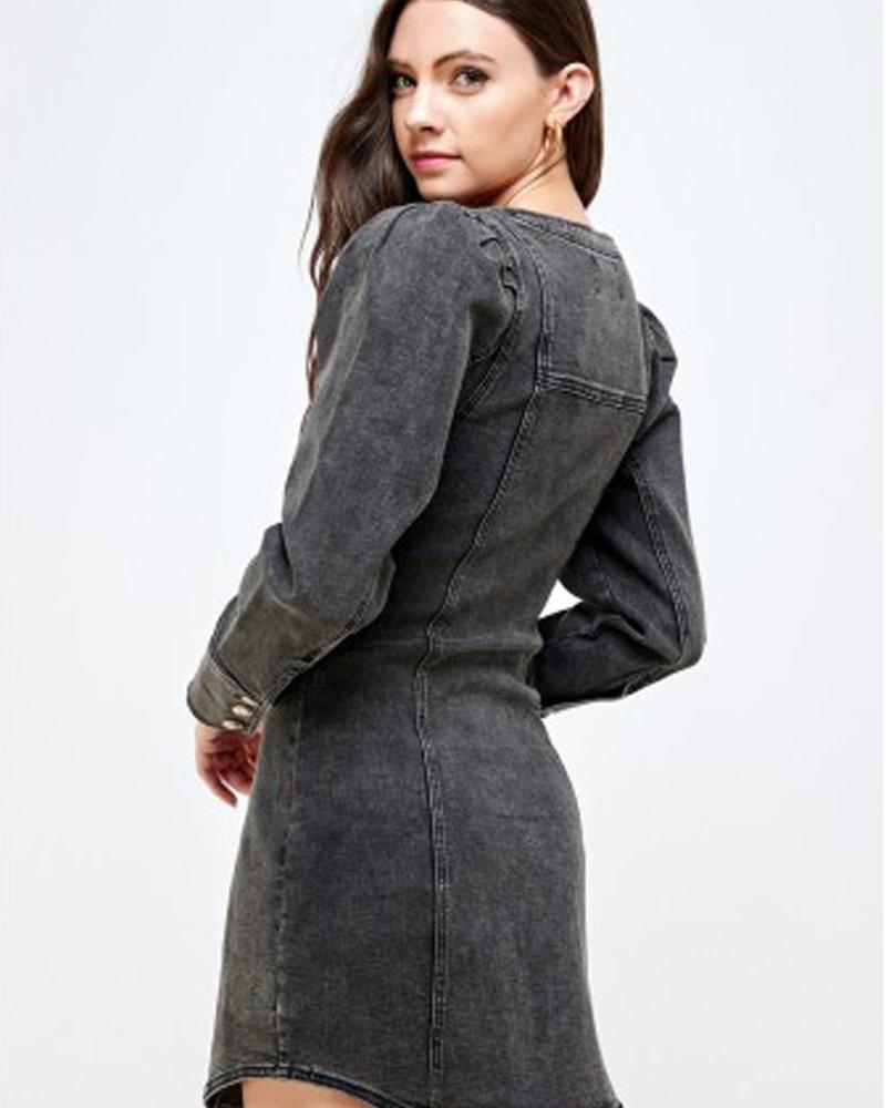 Signature 8 Power Shoulder Stretch Denim Dress (S3388)