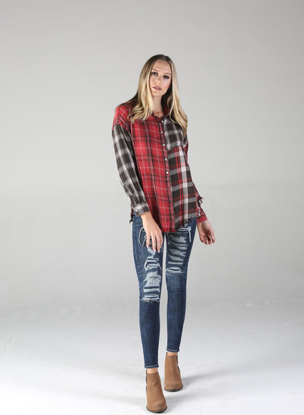 Angie Mixed Plaid Acid Washed Button Up w/ Frayed Hem (P2W94)
