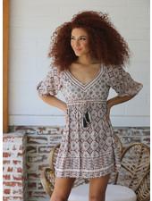 Angie V-Neck Drawstring Waist Dress (F4E51)