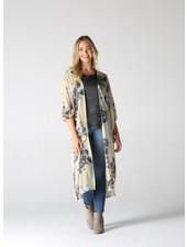 Rayon Georgette Poet Sleeves Printed Duster Kimono (bj662)