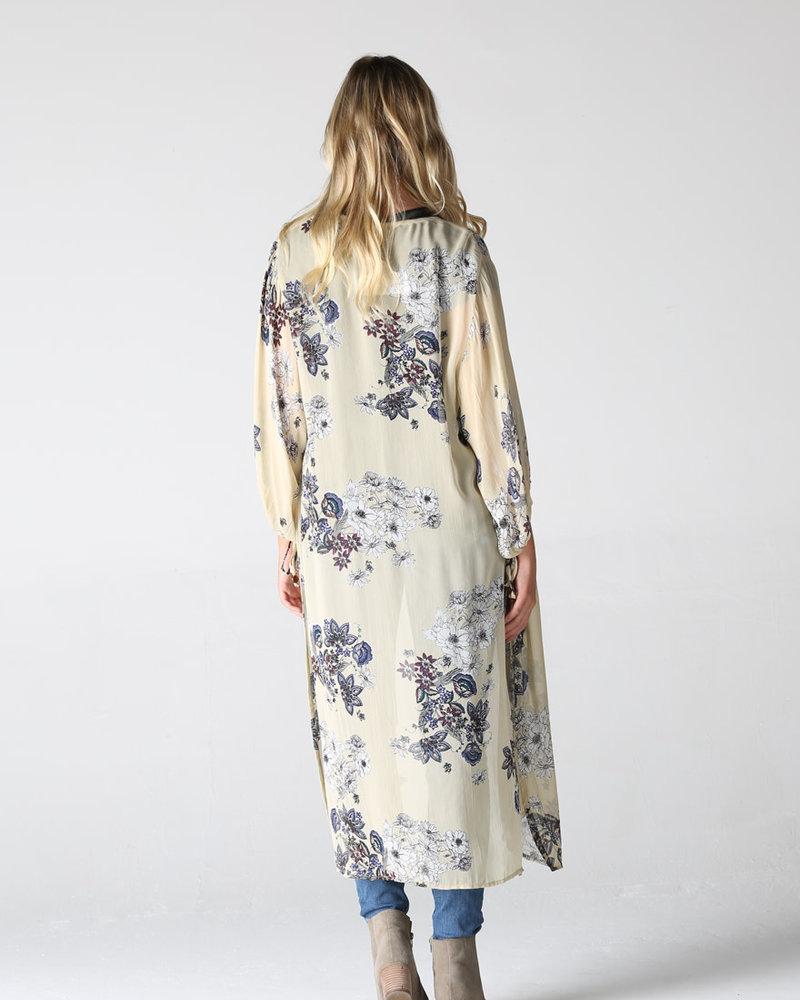 Angie Georgette Poet Sleeves Printed Duster Kimono (bj662)