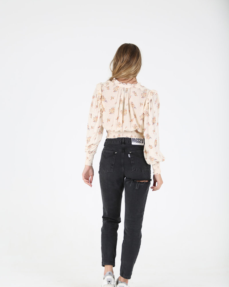 Angie Floral Feminine  Tie Neck Top (F2524)