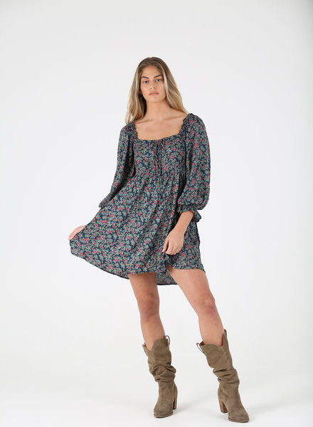 Angie Floral Button Up Smocked Back Dress (F4E39)