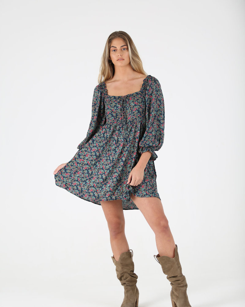 Angie Floral Button Up Smocked Back Dress (F4F39)