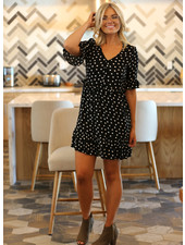 Angie Button Up Polka Dot Dress (F4F10)
