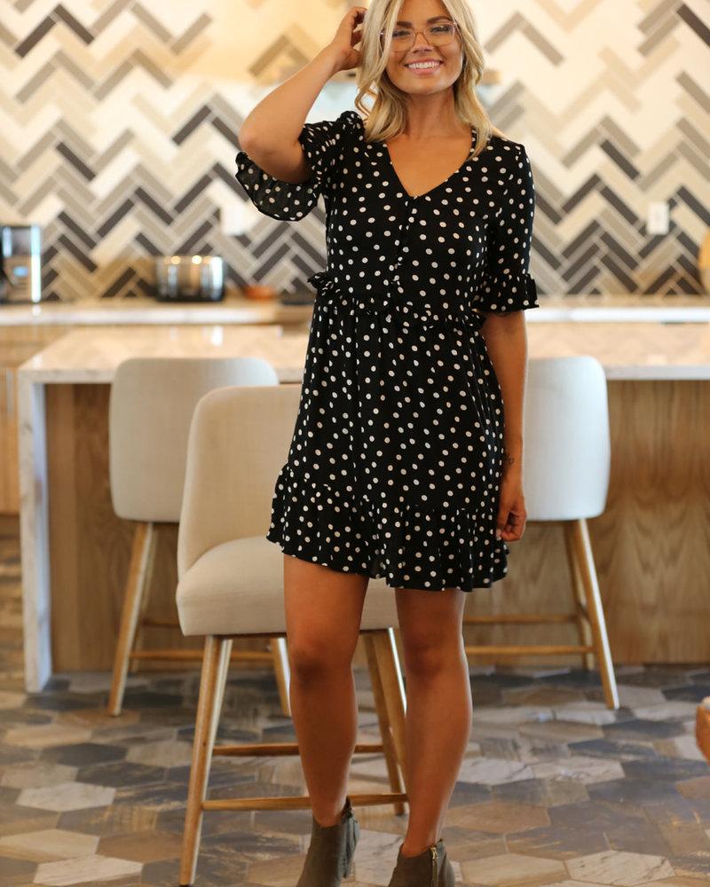 Angie Button Up Polka Dot Dress (F4F10)