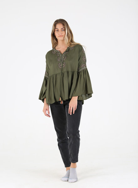Angie Moss Rayon Embroidered Flare Sleeve Top (F2550)