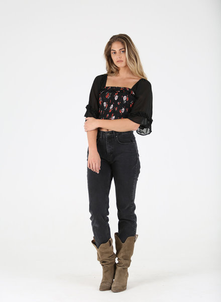 Angie Smocked Bodice Sheer Wide Sleeve Top (F2603)