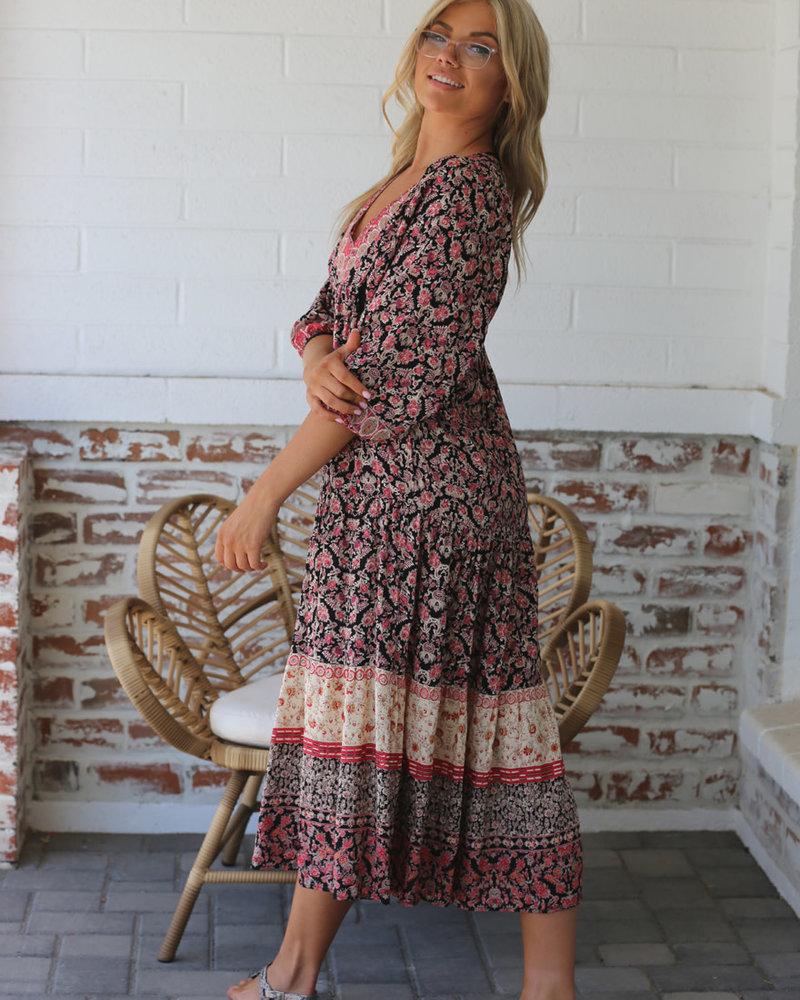 Angie V Neck Midi Dress (F4F38)