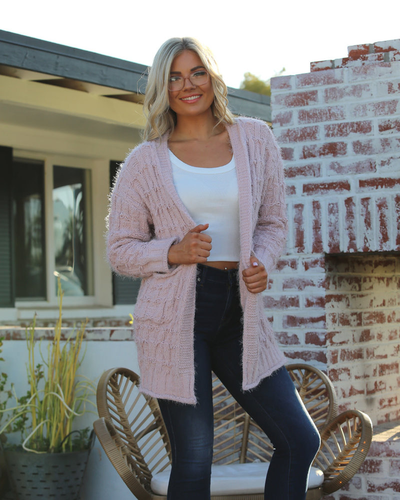 Angie Chenille Cardigan Sweater with Loop Stitches (XHH00)