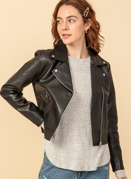 Double Zero Double Zero Faux Leather Biker Jacket (DZ20H261)