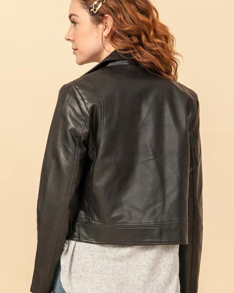 Double Zero Double Zero Faux Leather Biker Jacket (DZ20H261)