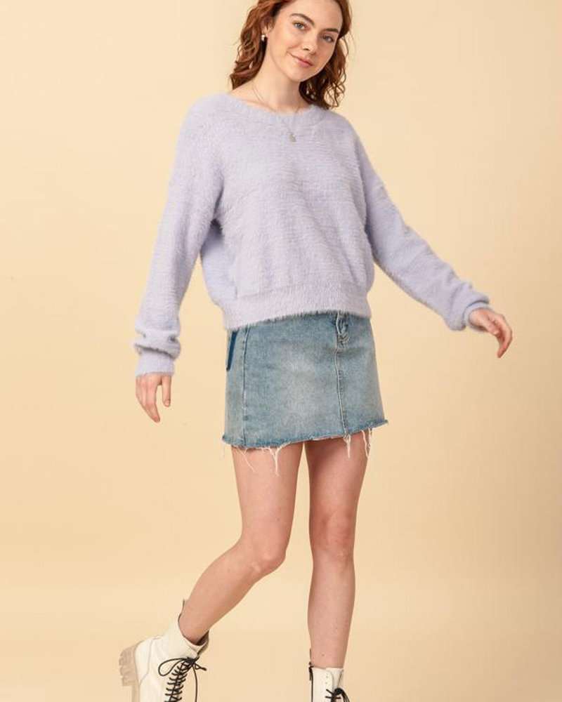 Double Zero Double Zero Round Neck Long Sleeve Pullover Fuzzy Sweater (DZ20G926)