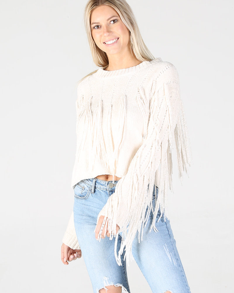 Angie Chenille Sweater  With Fringe (XHH31)