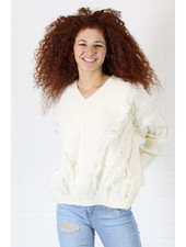 Angie V Neck Fringe Cable Pullover Sweater (XHJ17)