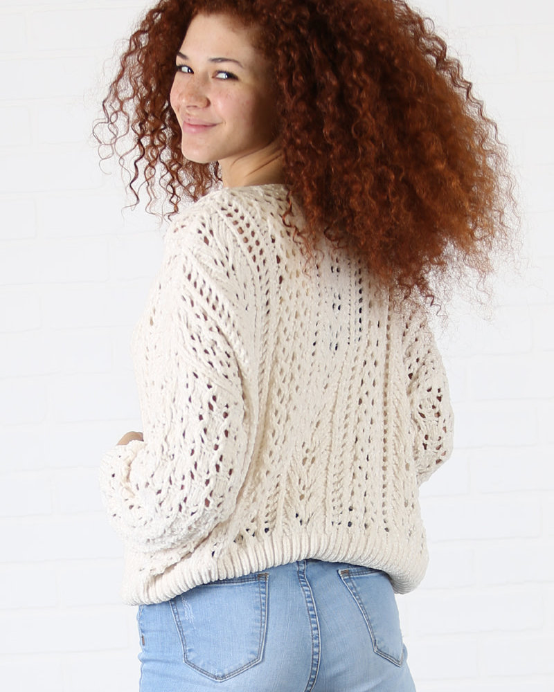 Angie Open Knit Chenille Pullover (XHG80)