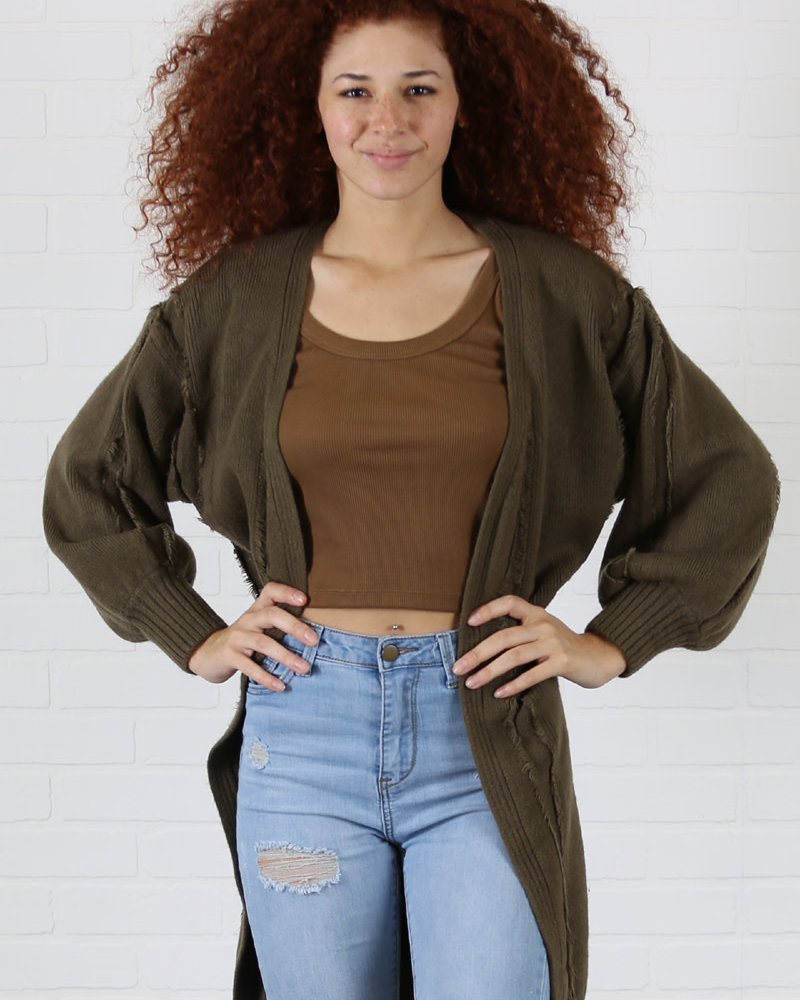 Angie Chuncky Knit Cardigan With Baloon Sleeves (XHD68)