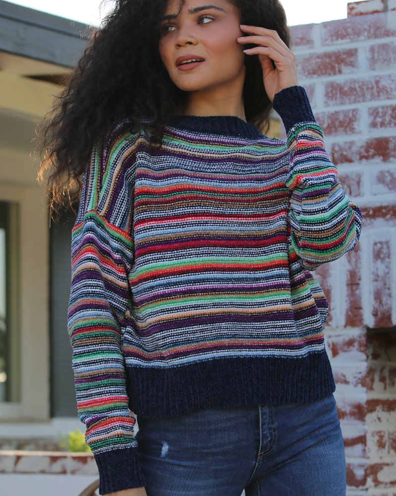 Angie  Chenille Pullover (XHH06-STRP)