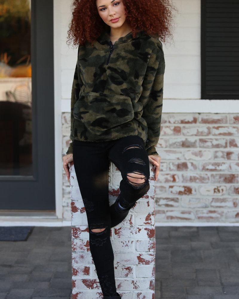 Angie Camo Velvet Half Zip Hoodie (SJA84)