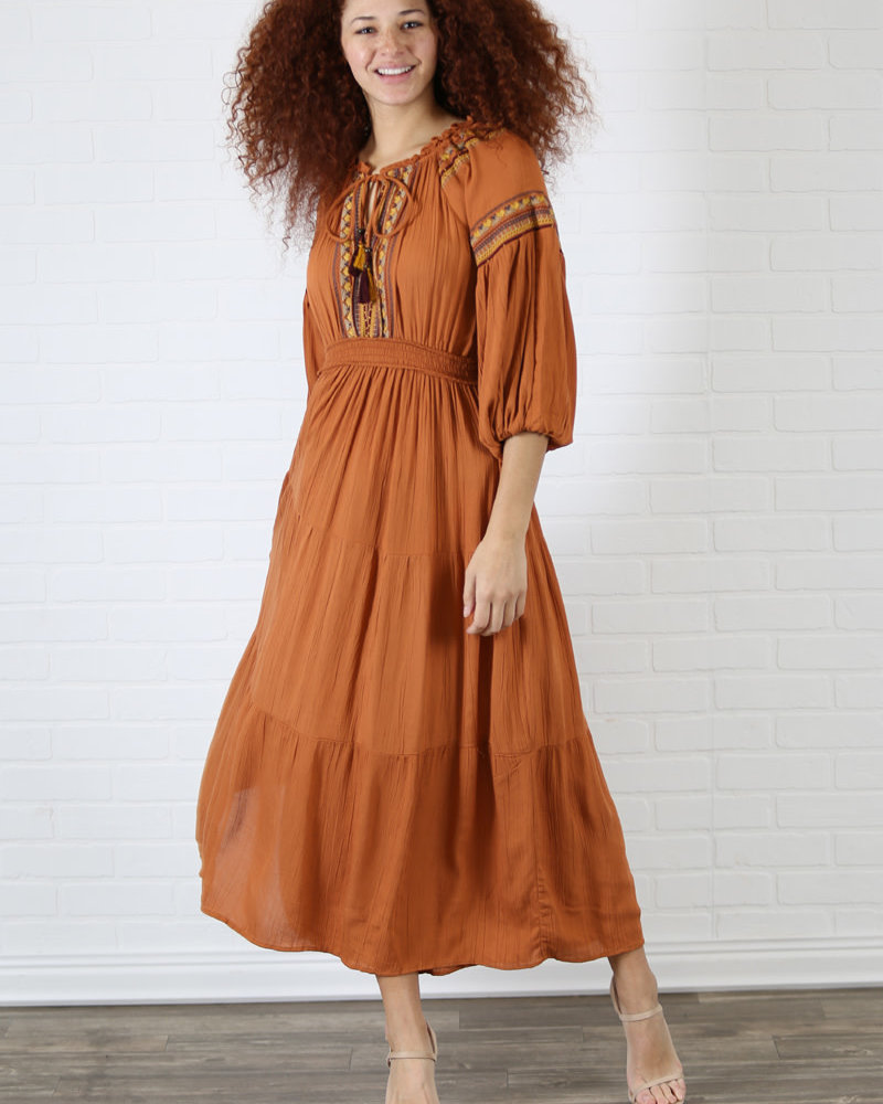 Angie Embroidered Long Sleeve Maxi Dress (F4E83)
