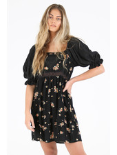 Angie Floral Peasant Sleeve Dress (F4F40)