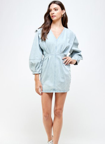 Signature 8 Oversized Balloon Sleeve Denim Dress(S3375)