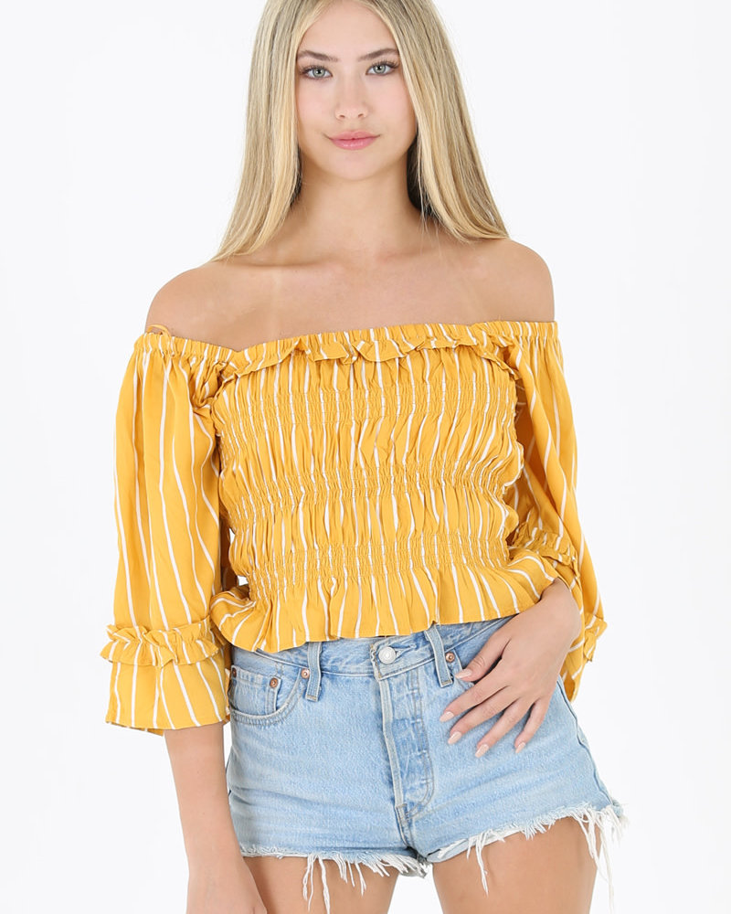 Angie Smocked Bodice Wide Sleeve Top (F2603)