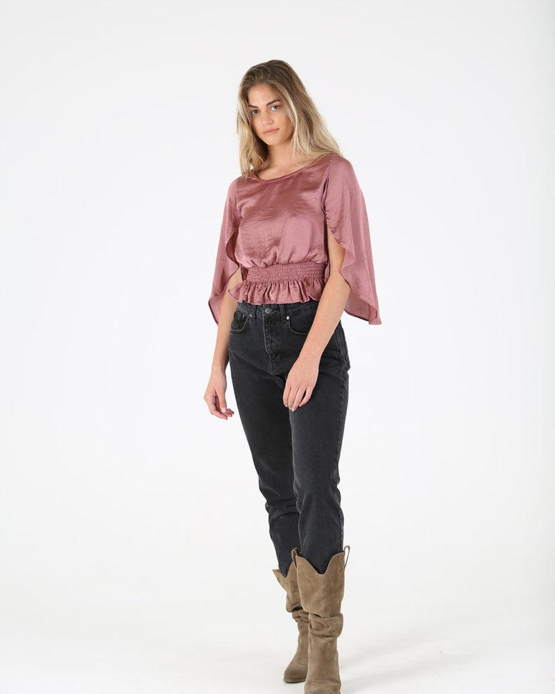 Angie Long Sleeve Smocked Waist Top (F2294)