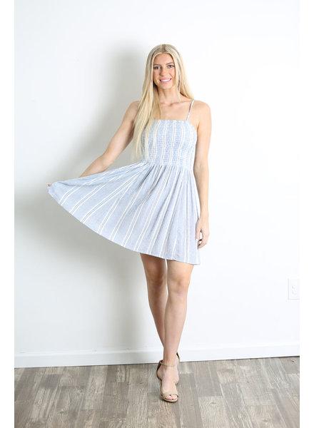 Angie Smocked Bodice Spaghetti Strap Mini Dress (F4D26)