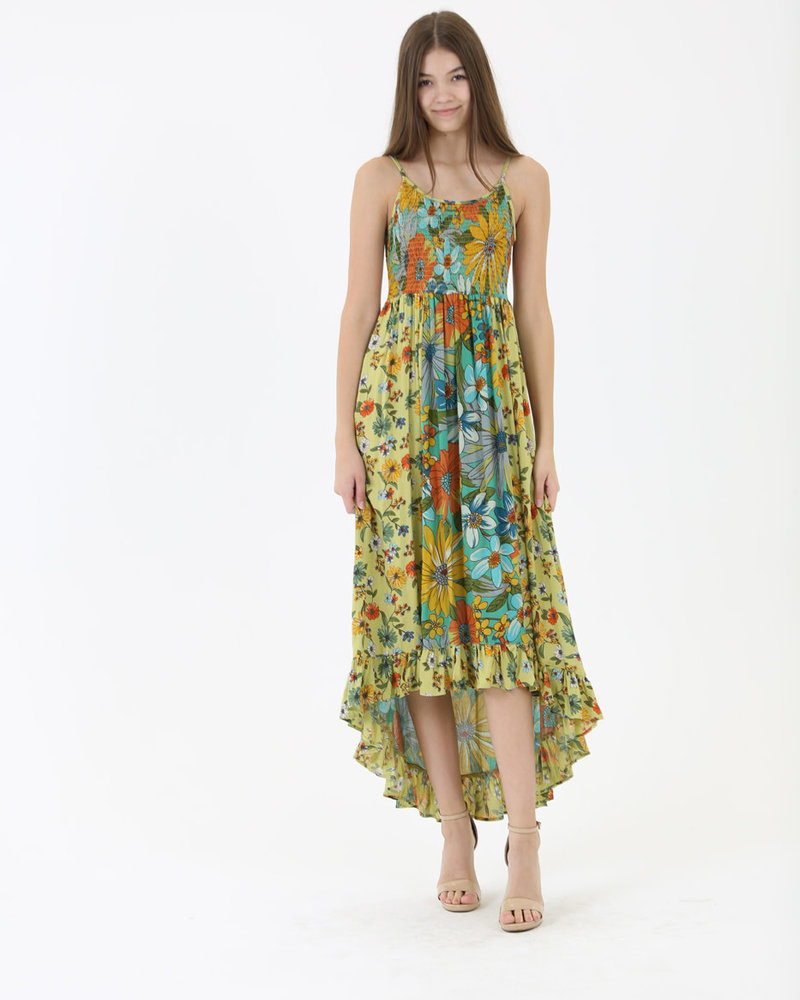 Angie Floral Smocked Maxi (C4280)