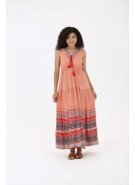 Angie Smocked Tie Waist Maxi Dress (C4302)