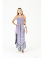 Angie Smocked Bodice Angled Hem Dress W/ Straps (C4400)