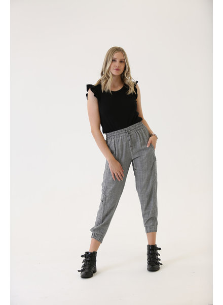 Angie Plaid Cargo Joggers With Zipper Pockets (25S12)