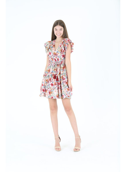 Angie V Neck Dress With Red Tassel (B4YY0)