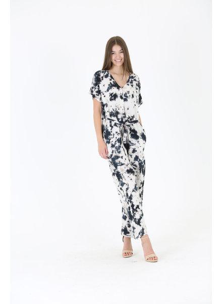 Angie Tye Dye Tie Waist Jumpsuit (B5872)