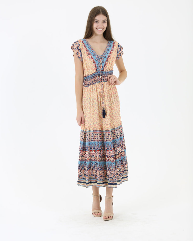 Angie V-Neck Lace-Up Maxi Dress (C4272)