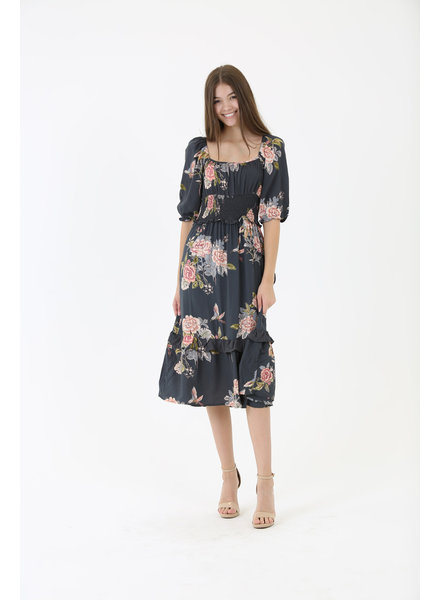 Angie Square Neck Smocked Back Dress (F4F09)