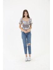 Angie Smocked Waist Floral Top (B2Z56)