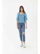 Angie Square Neck Ruffle Sleeve Top (B2Z80)