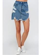 Sig 8 Destroyed Denim Skirt  (S7572)