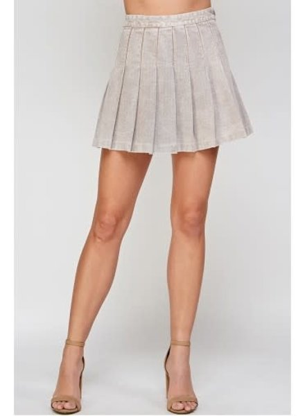 Signature 8 Two Toned Pleated Denim Skirt (S7591)