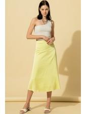 Double Zero DoubleZero Satin Midi Skirt with Side Invisible Zipper (DZ21A229)