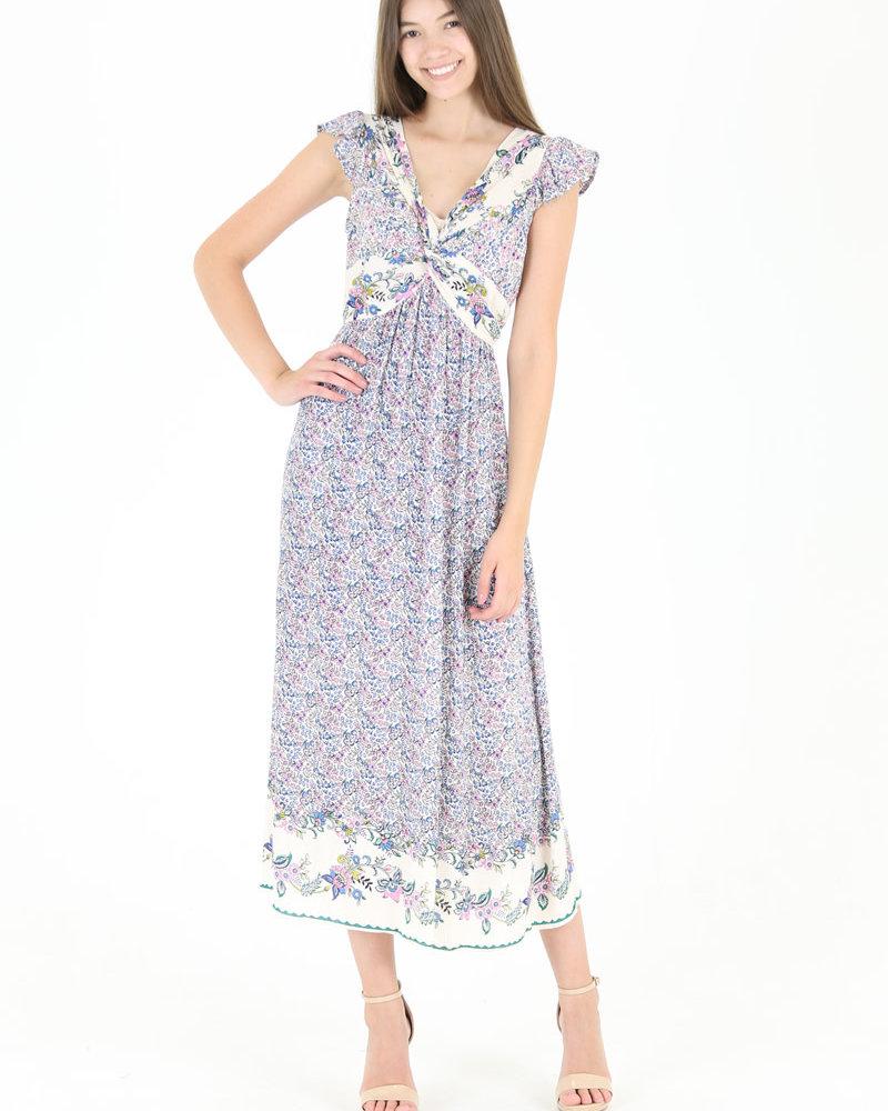 Angie Twist Front Cap Sleeve Dress (F4A45)