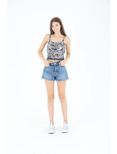 Angie Woven Stripe Crop Top (F2445)