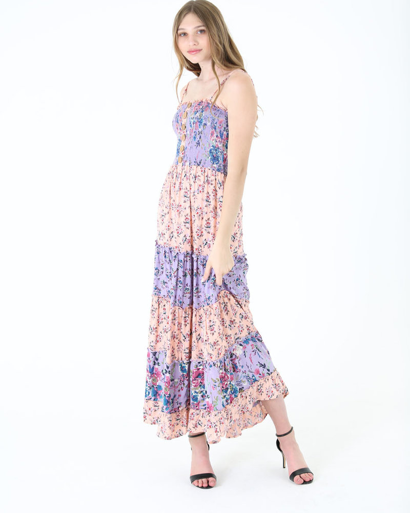Angie Floral Maxi Tank Dress Wood Buttons (C4246)