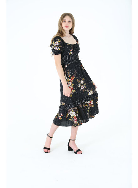 Angie Single Tiered Maxi Dress with Smocked Waist (C4174)