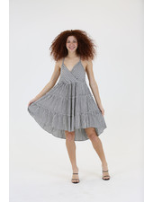 Angie Lattice Back Tiered Dress (C4184)