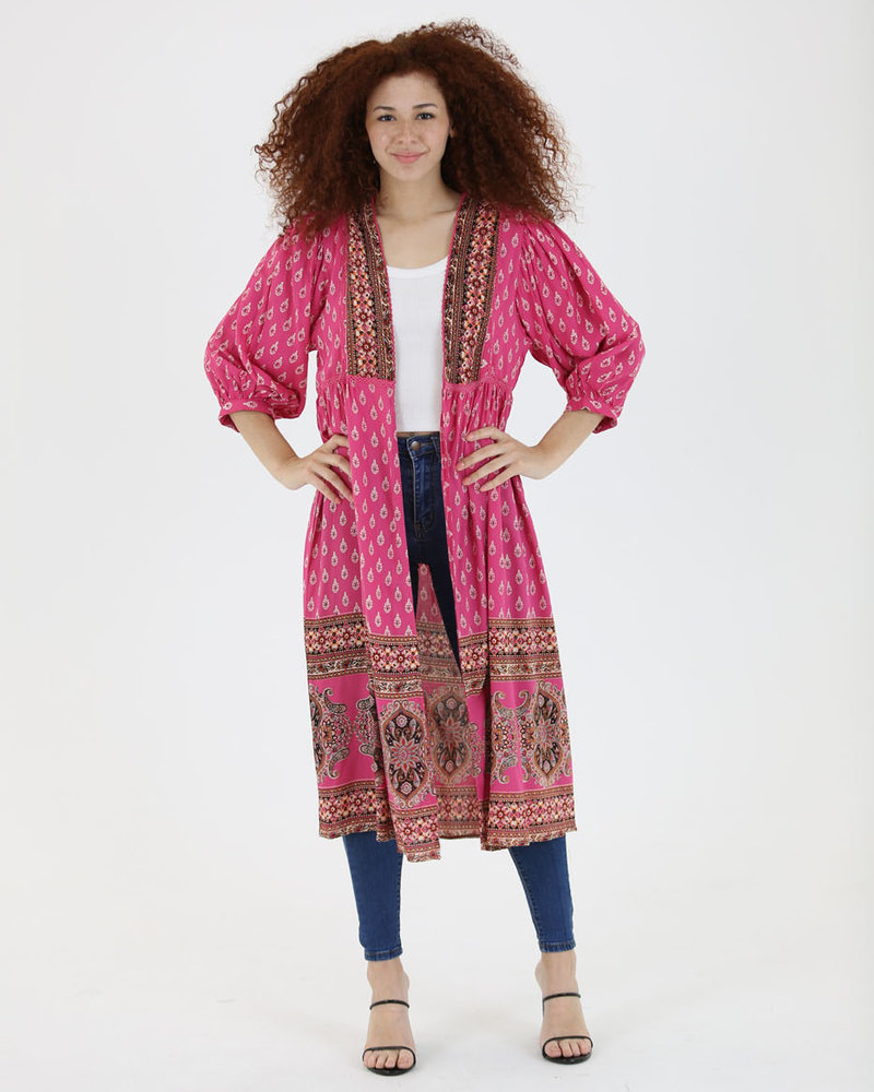 Lace Trim Duster Kimono (BJ671)
