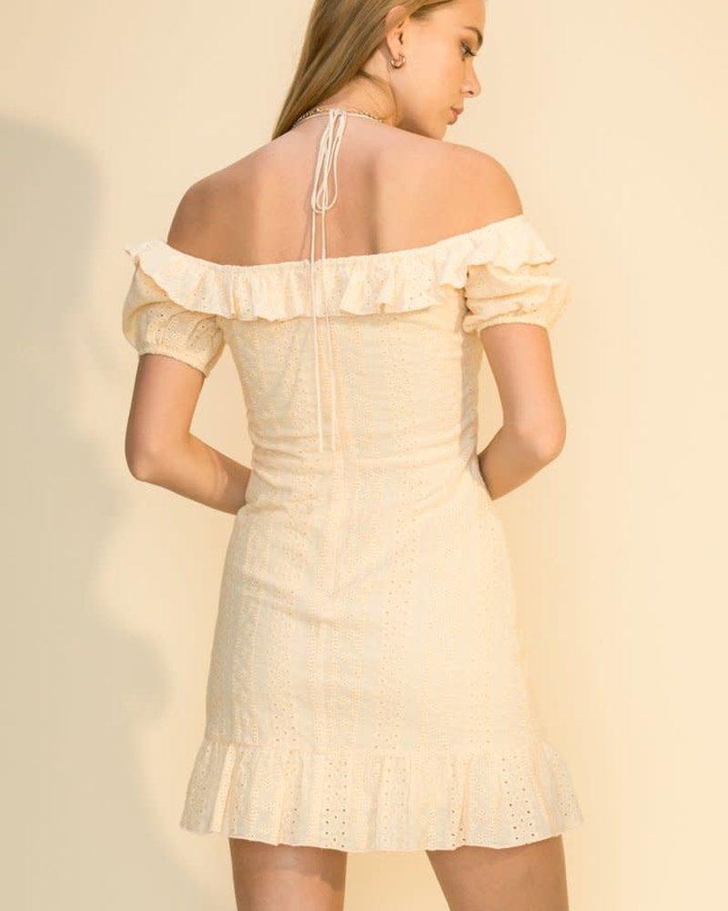 HYFVE HYFVE Eyelet Off Shoulder  Mini Dress (HF21F738)